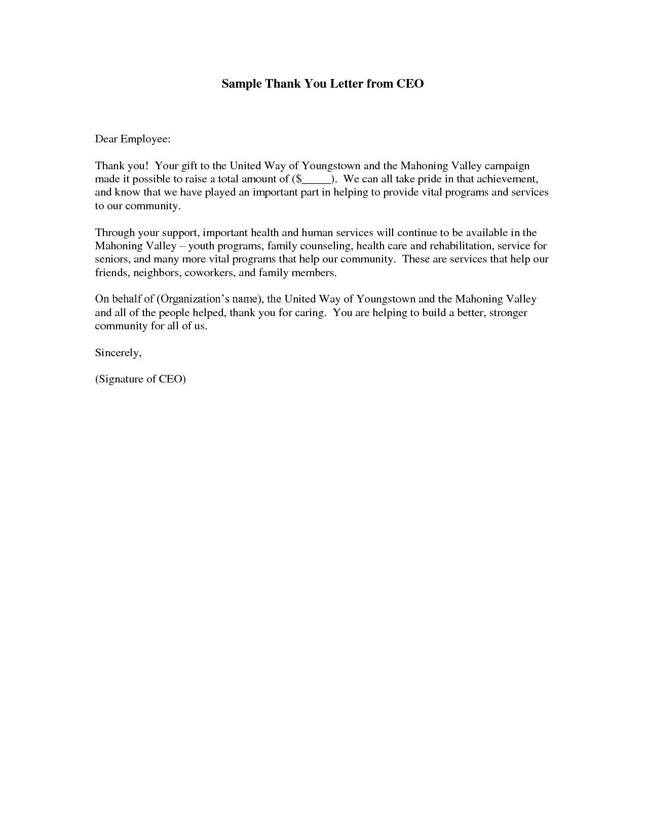 Thank You Letter Sample Employee Employer Download Free Documents