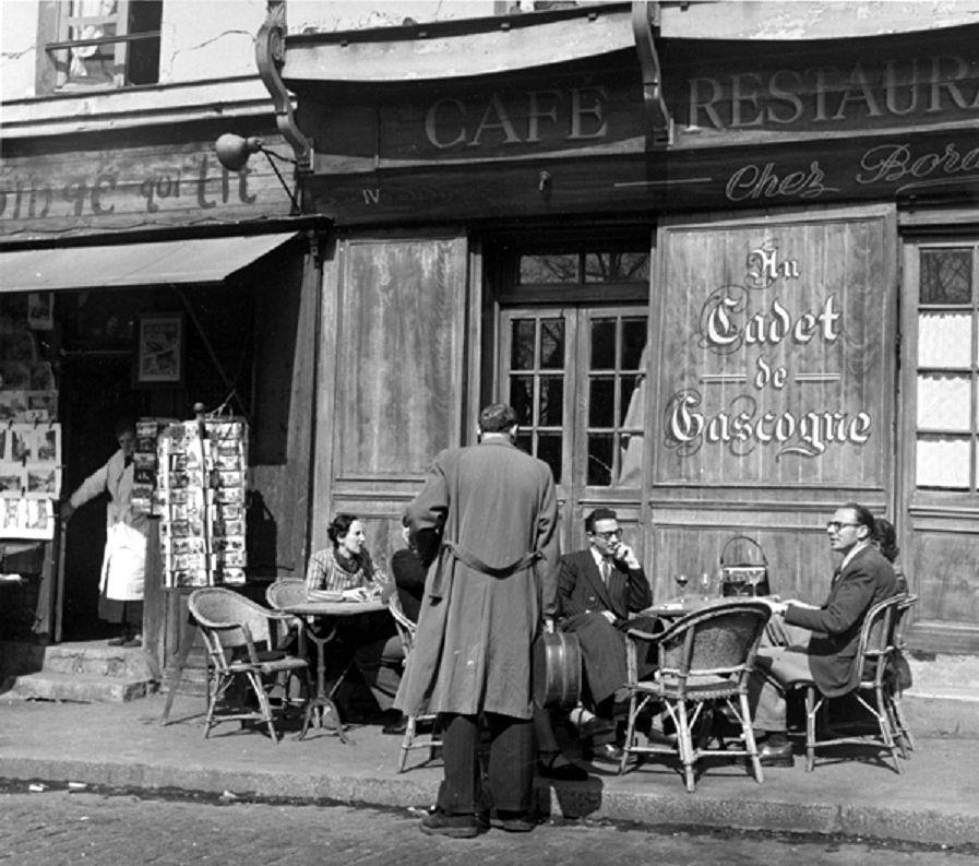 Benjamen Chinn. Montmartre, Sidewalk Café Paris 1949