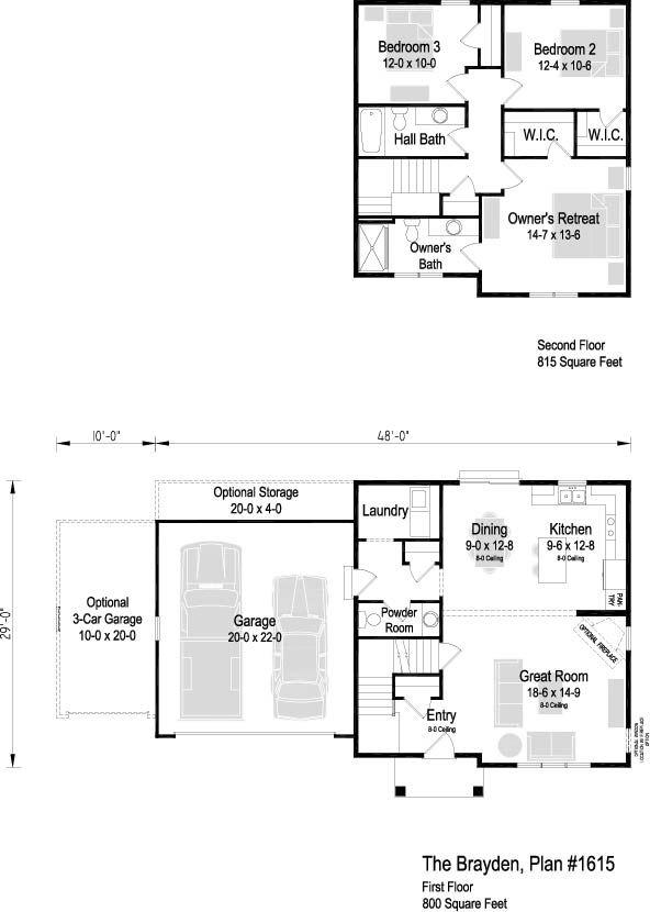 The Brayden Plan 1615 2 Story 1 615 Sq Ft 3 Bedroom 2 5 Bath Floor Plans How To Plan Second Floor