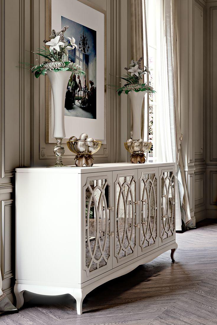 Great High End Italian White Fretwork Mirrored Sideboard