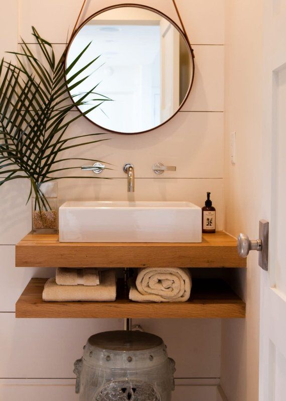 Floating Bath Vanity Includes Top And Bottom Shelves