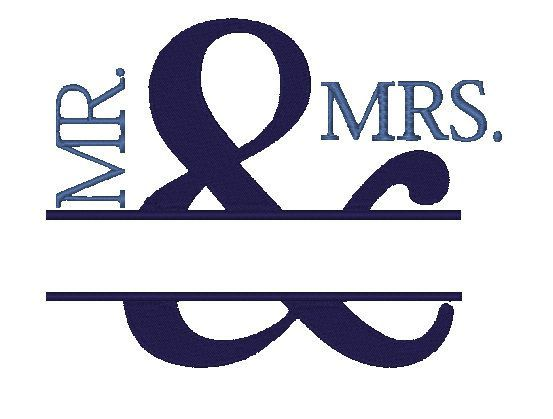 Mr mrs wedding embroidery design instant download