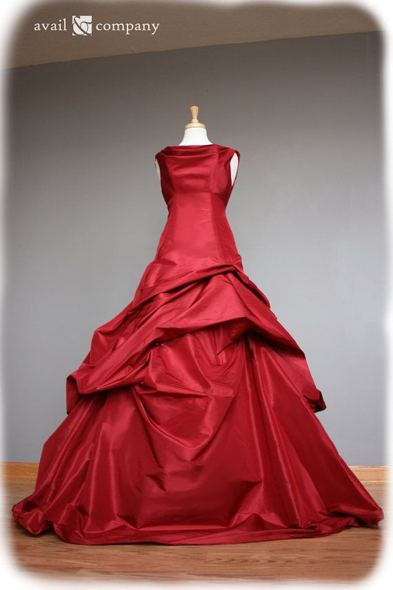 Red Ball Gown Silk Taffeta Custom Made To By Availco 1350 00