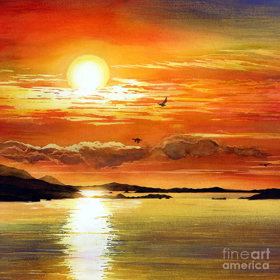 Sunset Lake Lake Painting Watercolor Sunset Lake Art