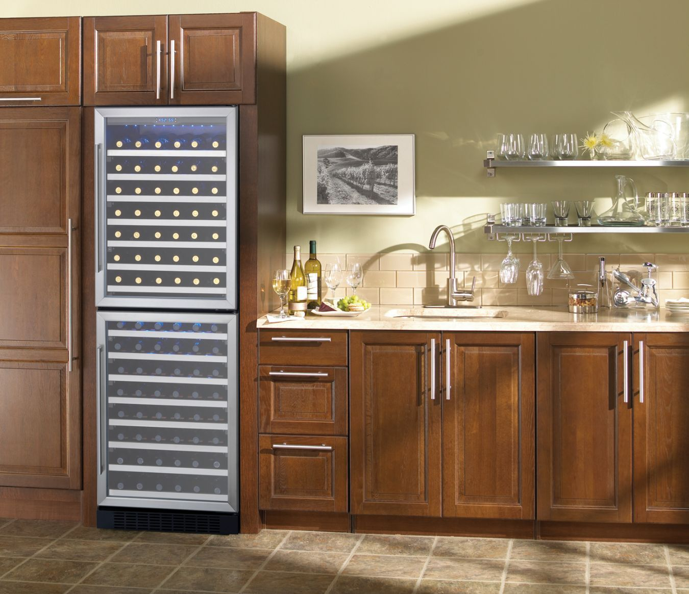 Under Counter Wine And Beverage Cooler With Ice Maker Installation