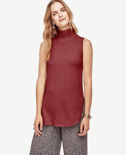 a95f48cfce9e68 ANN TAYLOR Wool Cashmere Sleeveless Turtleneck Tunic Sweater.  anntaylor   cloth  sweater