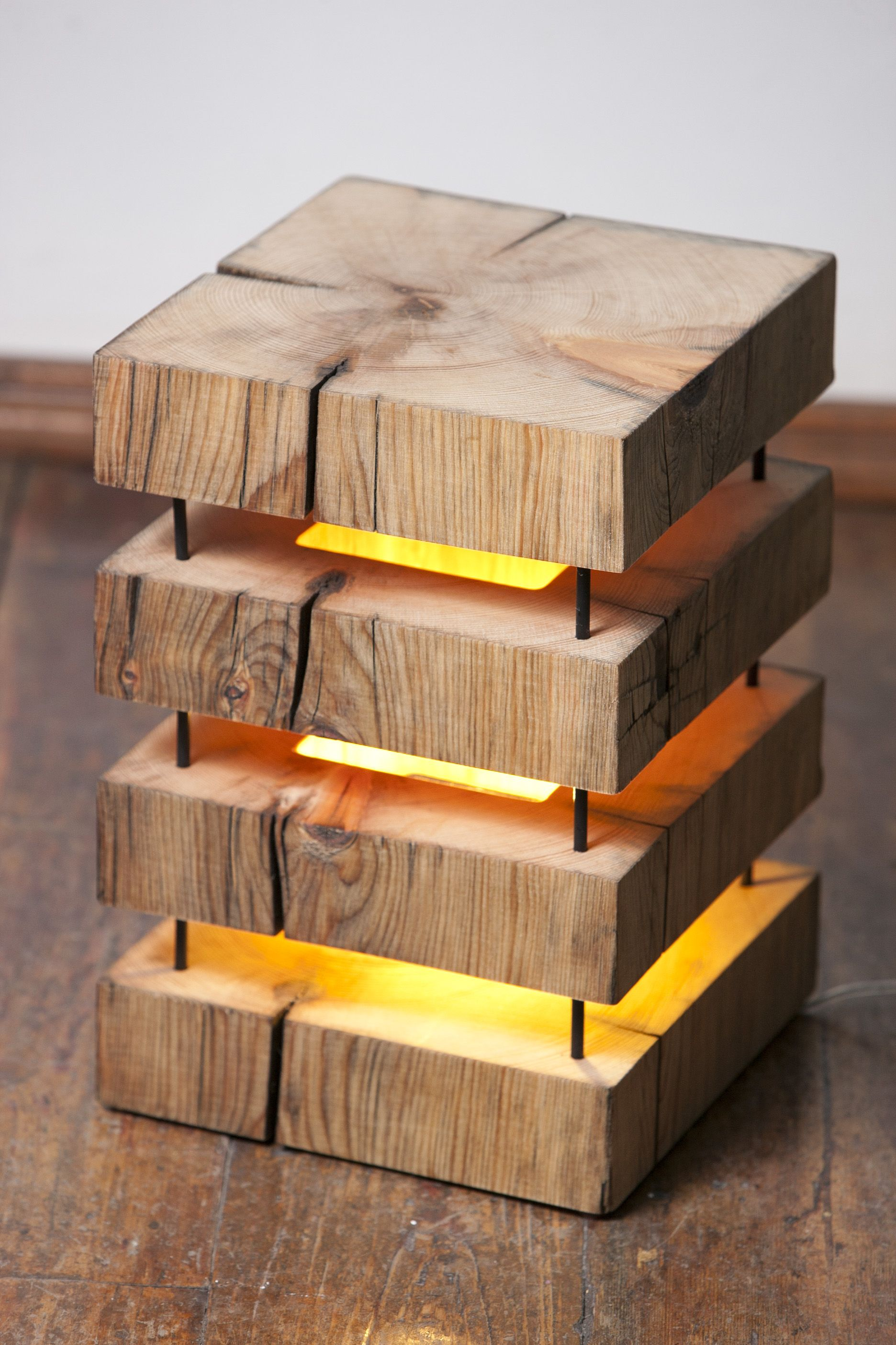 Made With Hardwood Solids With Cherry Veneers And Walnut: Mood Lamp Made From 250x250 Mm Old Cedar Beam.