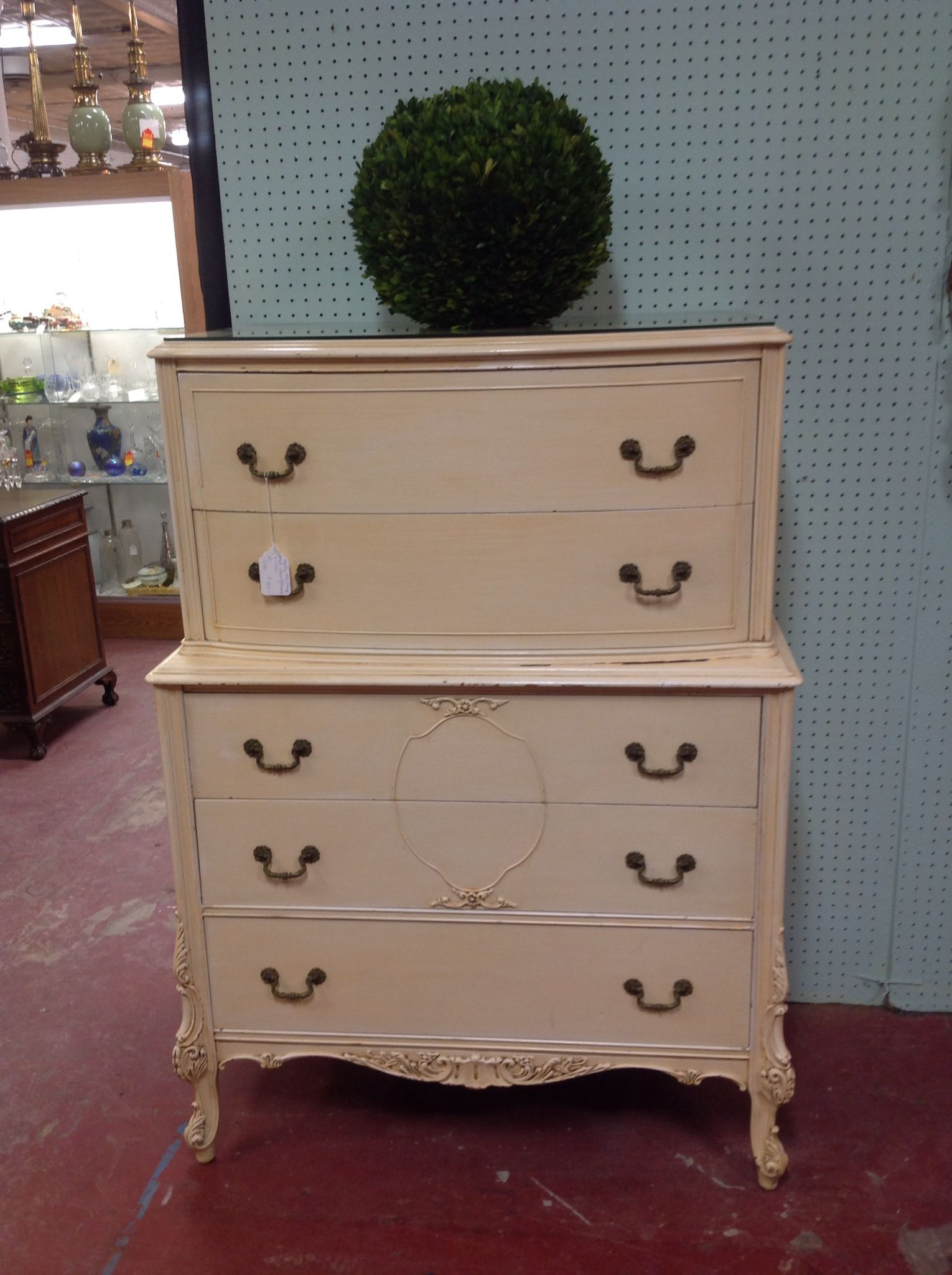 SOLD $350 Vintage antique French style shabby chic chest of