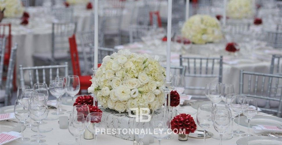 Candles Corporate Event Low Centerpieces Roses Round Tables Tent Color Cream Green Red Silver White Dusty Miller