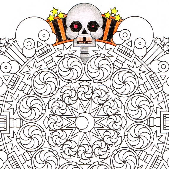 Halloween Mandala Coloring Page 2spooky Printable Spooky Scary Skeleton Coloring Page Creepy H Mandala Coloring Pages Mandala Coloring Halloween Coloring