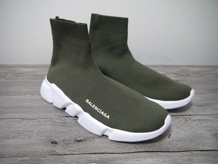wholesale price wholesale sales sale online Balencaiga Men's Speed Trainer Knit Sock Olive Green White ...