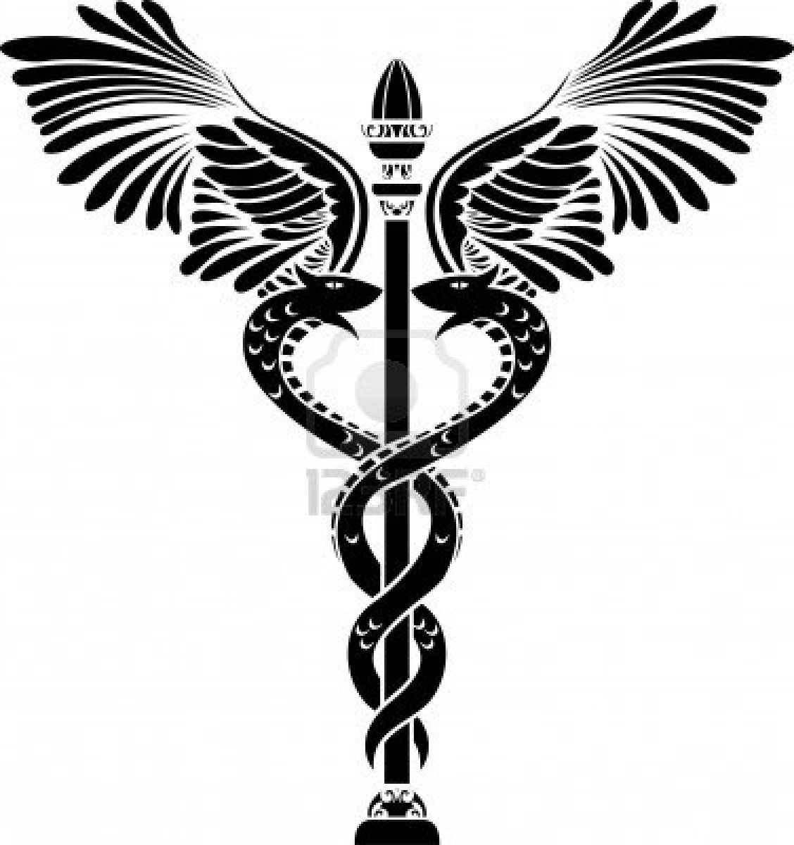 Medical symbol caduceus silhouette Stock Photo - 9179993 | tattoos ...