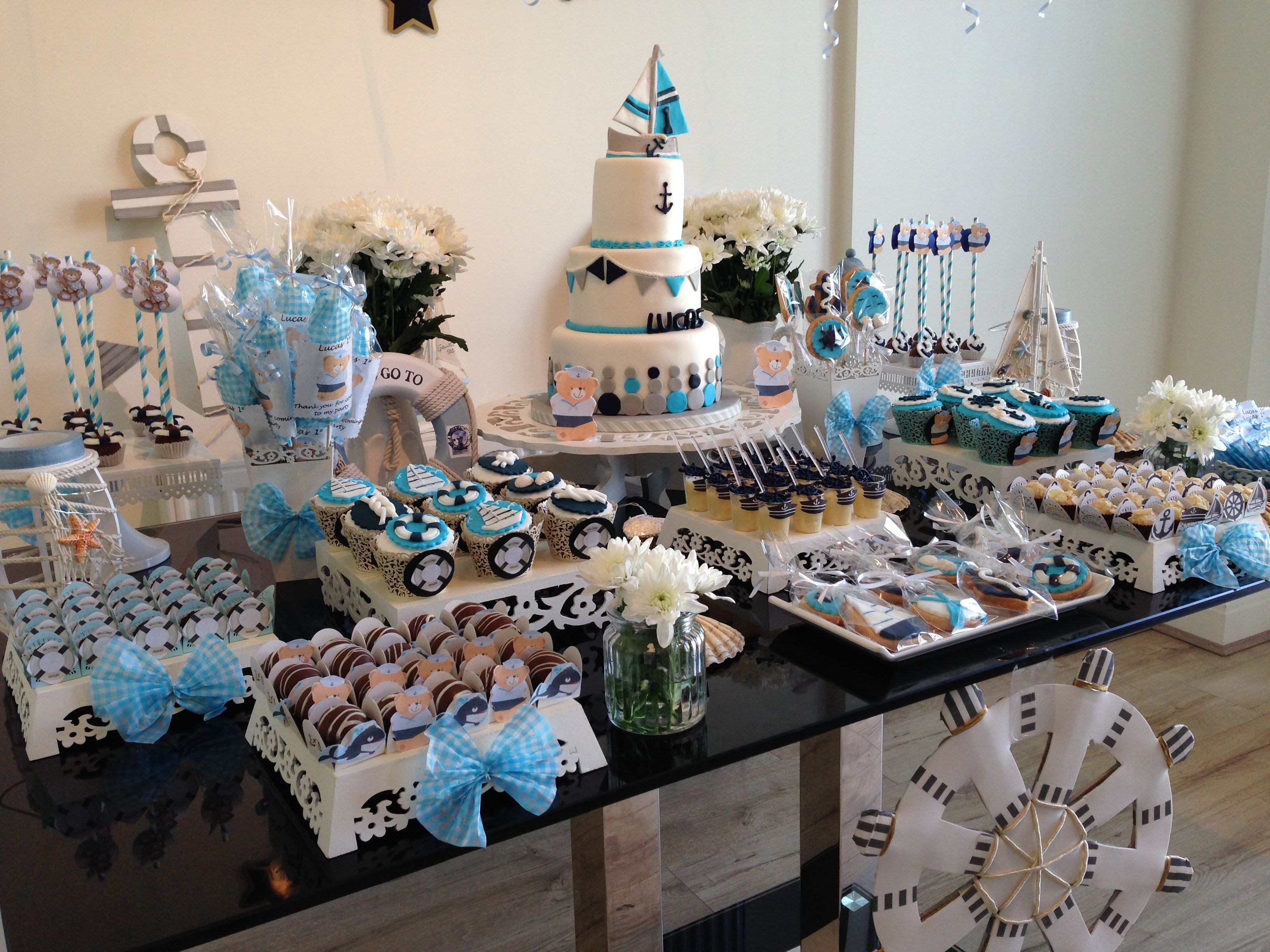 Nautical Theme Dessert Table For 1st Birthday Party 1st Birthday Parties Boy First Birthday First Birthdays