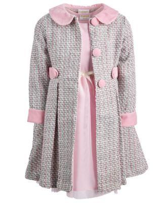 3d845fa9d0c8 Blueberi Boulevard Little Girls 2-Pc. Tweed Coat & Dress Set - Pink ...