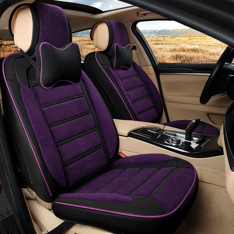 6D New Winter Plush Leather Car Seat Cover Cushion For Honda Accord Civic  CRV Crosstour Fit