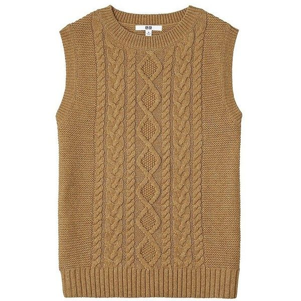 UNIQLO Heavy Gauge Cable Crew Neck Vest ($26) ❤ liked on Polyvore ...