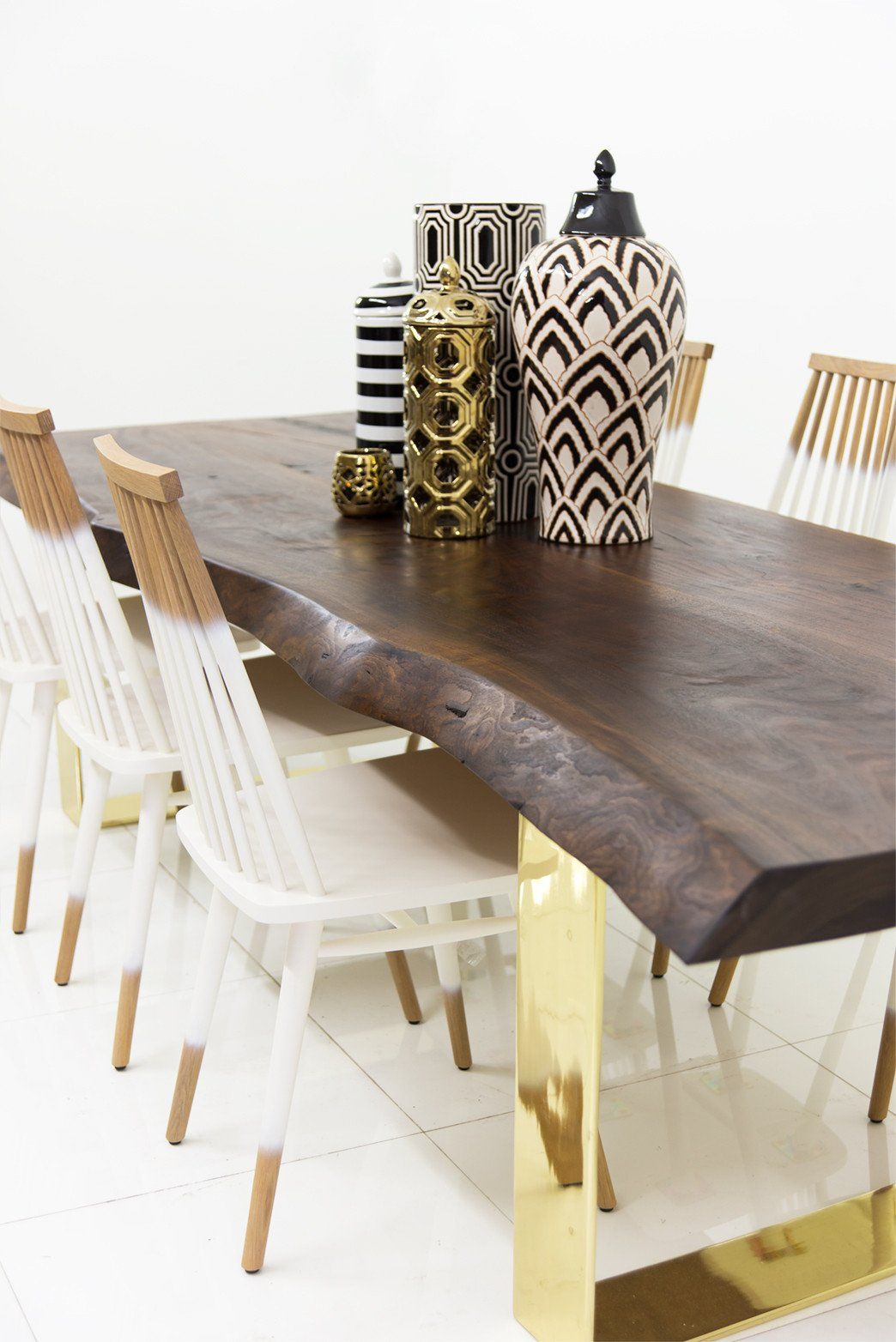 Natural edge dining table w steel hairpin legs from impact imports of - Walnut Finished Parota Eco Slab Dining Table W Brass U Legs