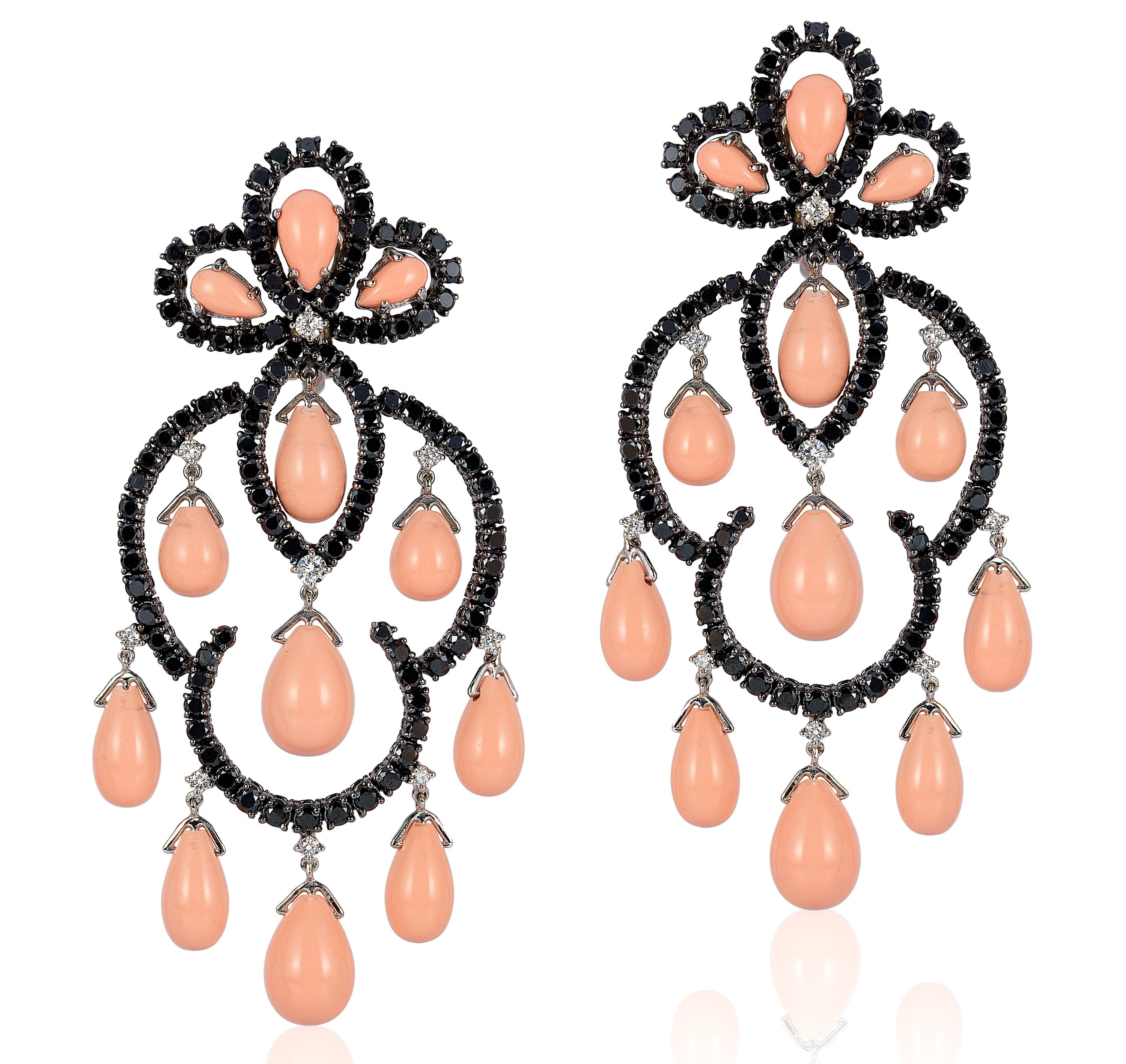 Andreoli coral and black diamond earrings
