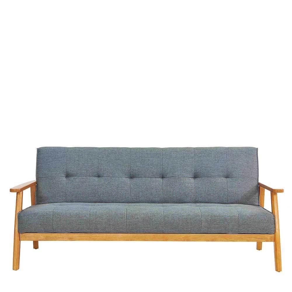 Ausklappbares Sofa In Grau Webstoff Armlehnen Moebel Liebe Com Sofa Armlehnen Sofa Mit Bettfunktion