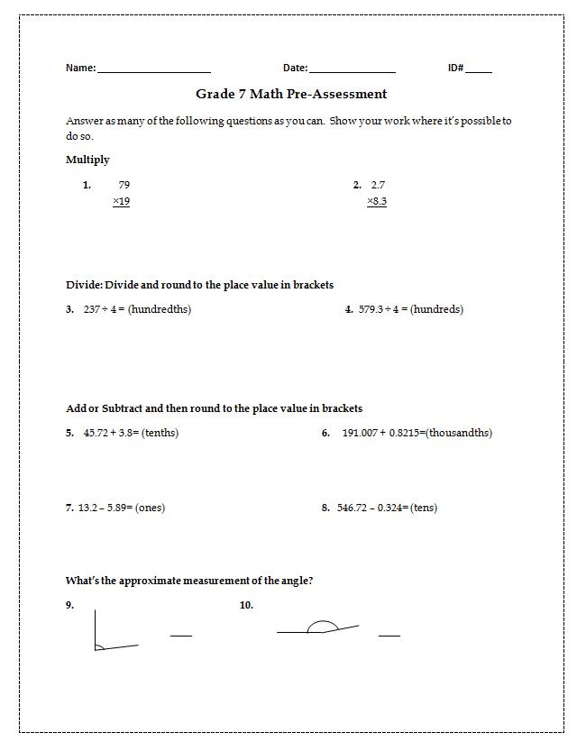 Math Pre-Assessment (grade 6-8) | Teaching | Pinterest | Math and School