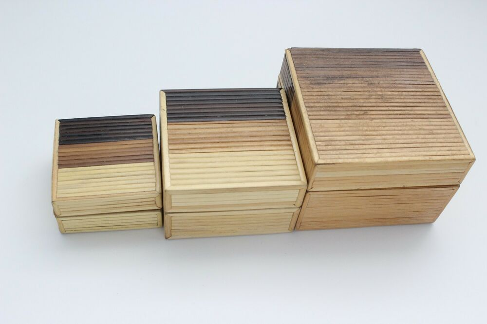 Vintage Bamboo Nesting Trinket Boxes Three Stacking Tri Color