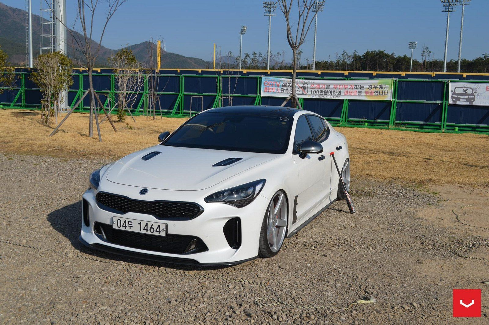 White Kia Stinger Gets A Revised Front With Custom Hood And Blacked Out Grille Kia Stinger Kia Black