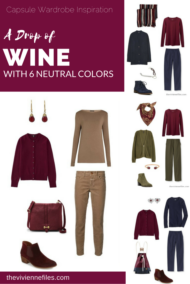 Capsule Wardrobe Color Palette - A Drop of Wine, with 6 ...