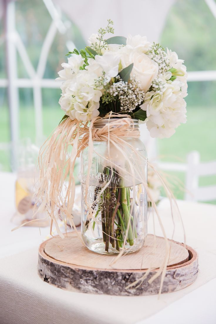 rustic mason jar and birch wedding centerpiece ideas