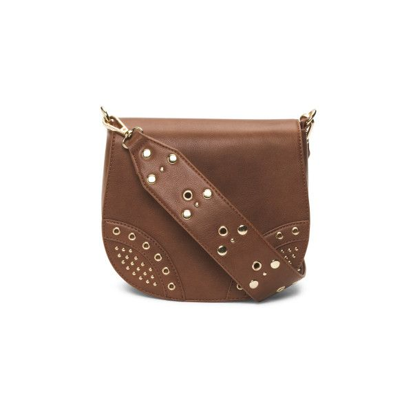 Saddle Bag With Studded Strap (1.595 RUB) ❤ liked on Polyvore featuring bags, handbags, shoulder bags, leather saddle bag purse, brown purse, saddle bags, leather shoulder bag and leather purses