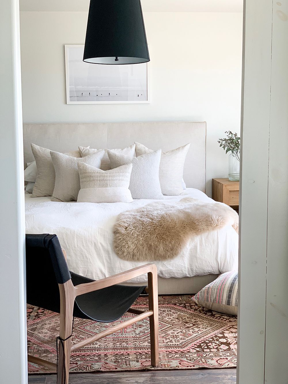 The Wythe Bed In Natural Performance Washed Linen The Hayes Chairs In Black Leather And Walnut Wood Make Their D Home Decor Bedroom Home Bedroom Inspirations