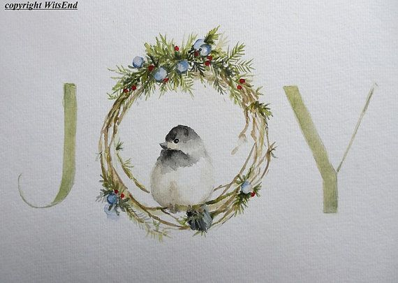 Michele Winter Joy painting original watercolor art typography Christmas Chickadee Bird Wreathfor  Michele Winter Joy painting original watercolor art typography Christmas Chickadee Bird Wreath