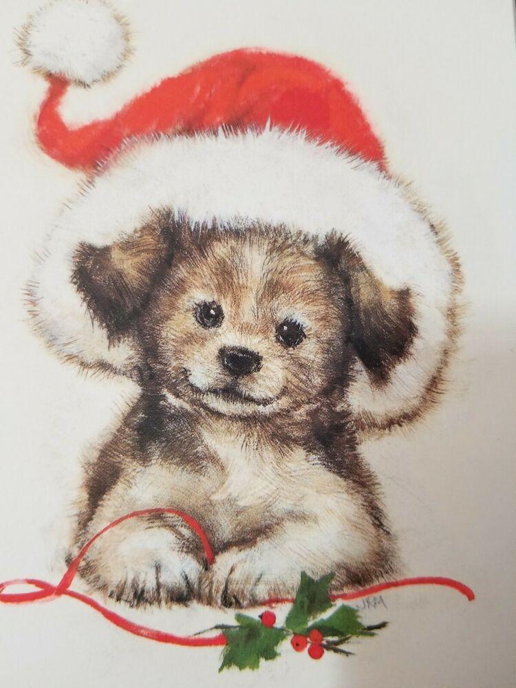 11 Vintage Hallmark Puppy Dog Santa Hat Christmas Cards Ambassador