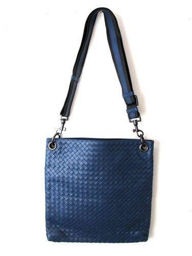 Bottega Veneta Navy Intrecciato Leather Messenger Bag