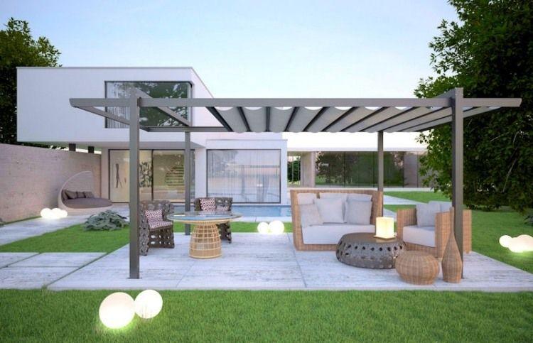 moderne berdachung aus aluminium mit verstellbarer schalusie f r beschattung gtutzu. Black Bedroom Furniture Sets. Home Design Ideas