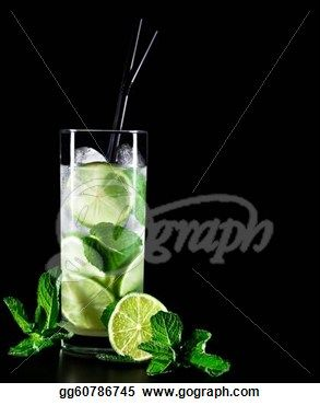 Mojito Cocktail On Black Background With Lime And Mint Cocktail Stock Photos From Gograph Com Mojito Cocktail Mojito Cocktails
