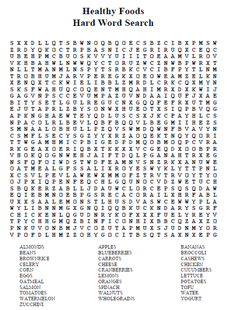 Healthy Food Word Search Answers