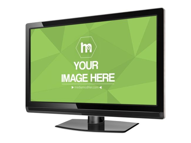 Mockup template with a black TV or computer monitor. An angled view ...