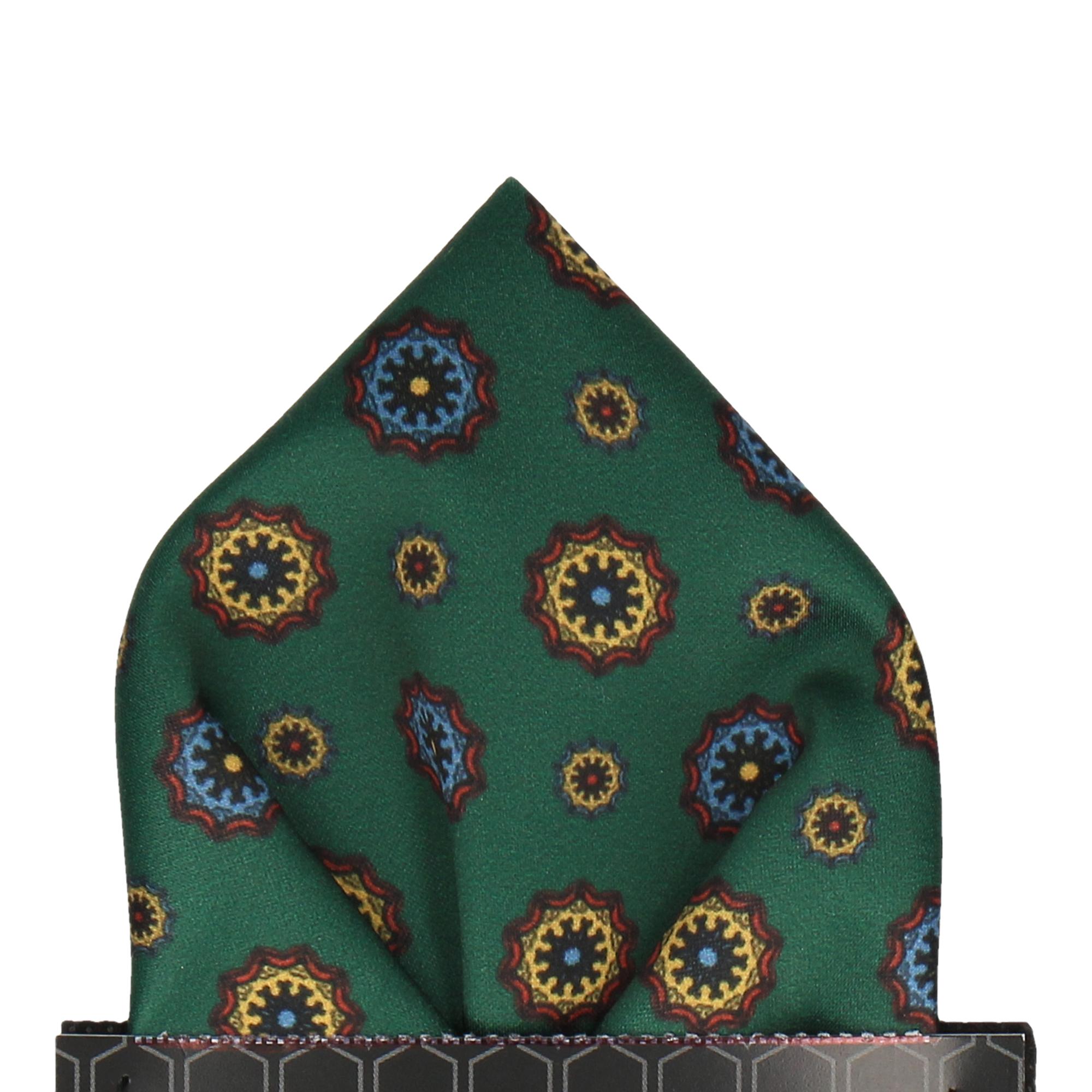 Dark Green Classic Medallion Pocket Square