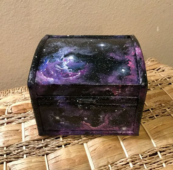 Galaxy Box Hand Painted Chest Outerspace Original Art Jewelry Wooden Keepsake Box Coins Candy Misc Pink P Painted Chest Jewelry Box Makeover Wooden Box Crafts