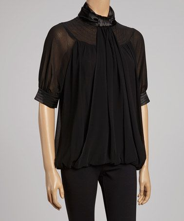 Take a look at this Black Sheer Bubble Top by Madison & Lola and More on @zulily today!
