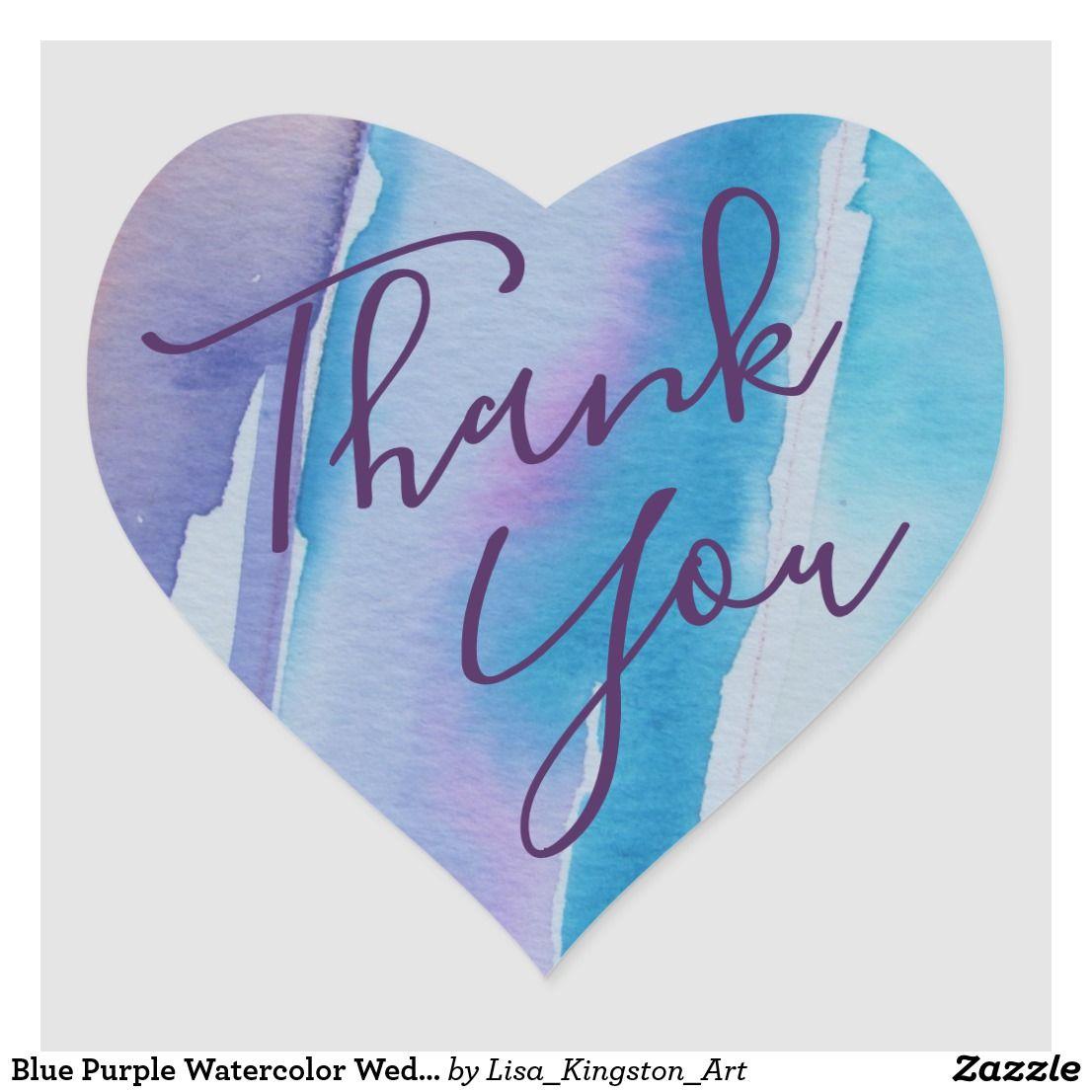 Blue purple watercolor wedding thank you heart sticker