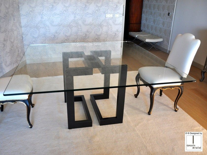 Square Glass And Iron Dining Table Sendai Square Table By Gonzalo De Salas Welded Furniture Wood Furniture Diy Square Tables