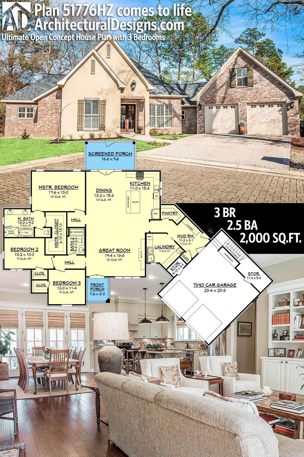 Plan 51776hz Ultimate Open Concept House Plan With 3 Bedrooms Open Concept House Plans Architectural Design House Plans House Plans