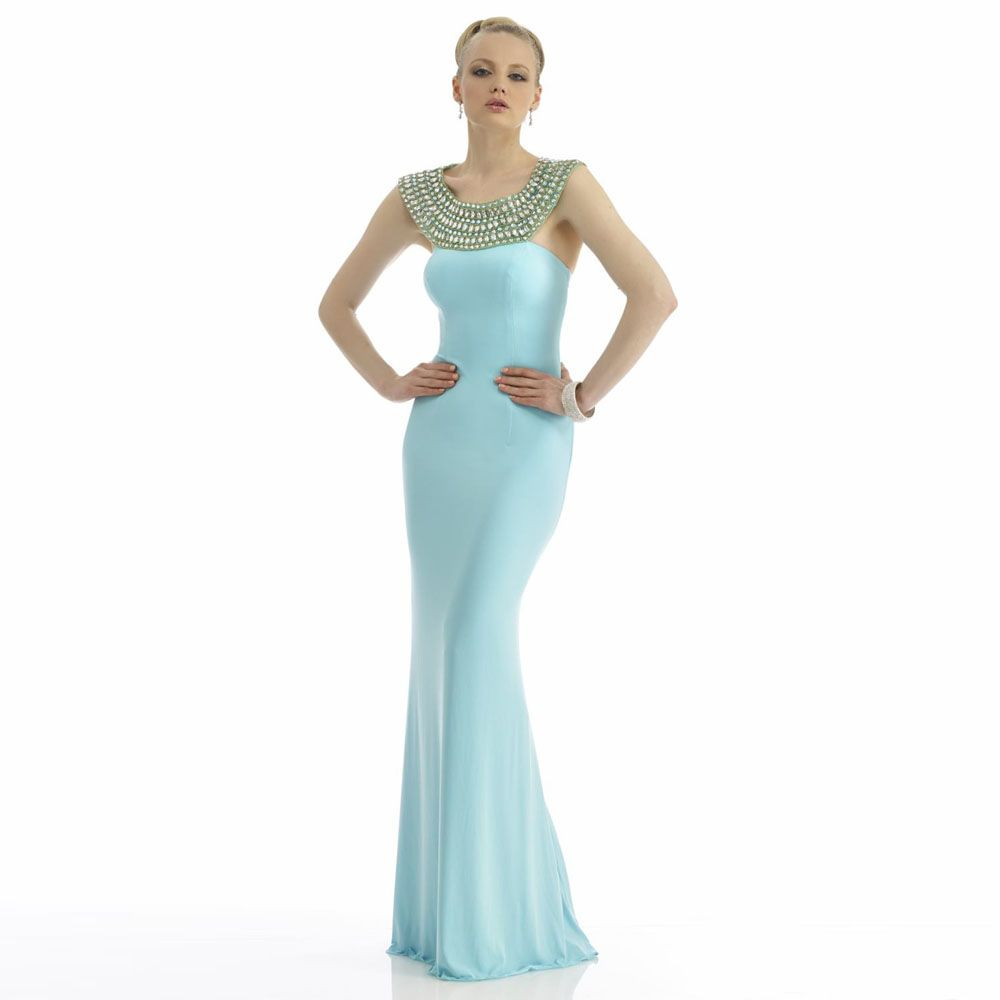 Click to buy ucuc new design blue crystal neck mermaid prom gowns