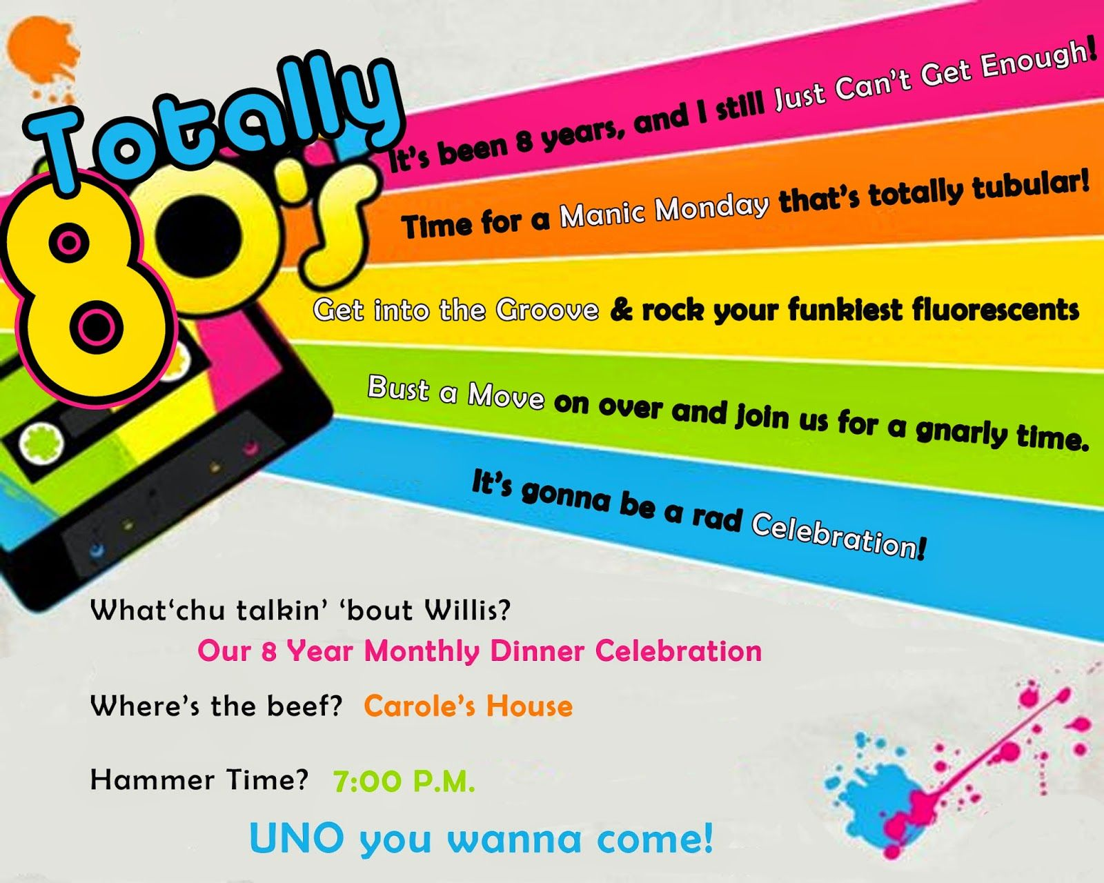 Invite And Delight Totally S Party Party Ideas Pinterest - 80s party invitation template