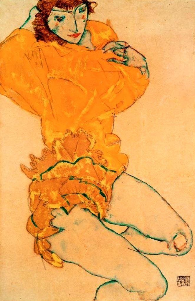Egon Schiele, Woman Undressing, 1914