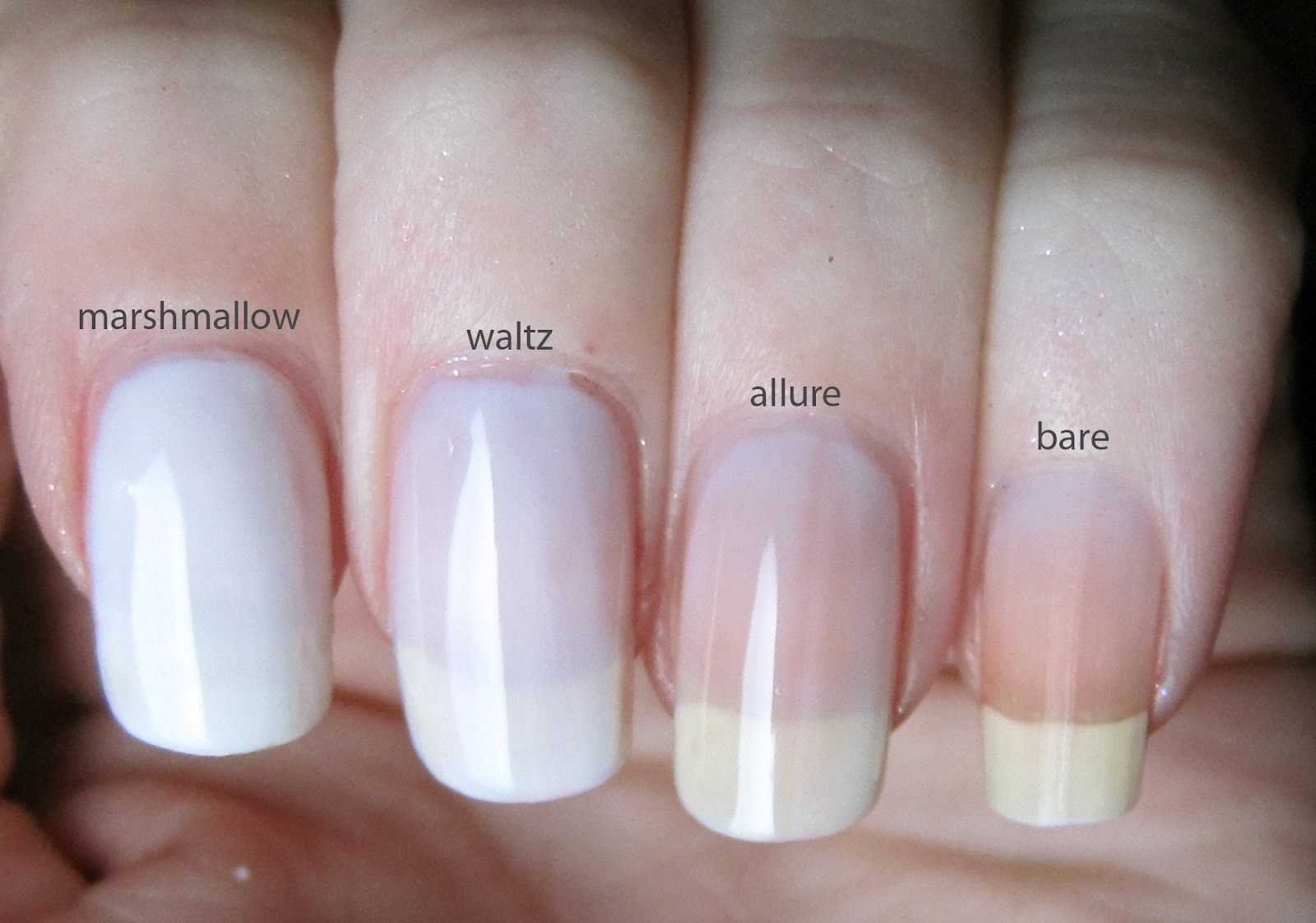 Here S A Comparison Of Some Essie Whites Marshmallow Waltz And Allure I Bought Them All On Separate Occasions Because Essie Nail Nail Polish Opi Gel Nails