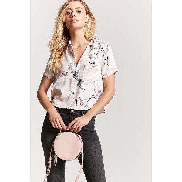 bca0e09d584 Forever21 Crane Print Cropped Shirt ($16) ❤ liked on Polyvore featuring tops,  white crop shirt, forever 21 shirts, white top, white crop top and ...