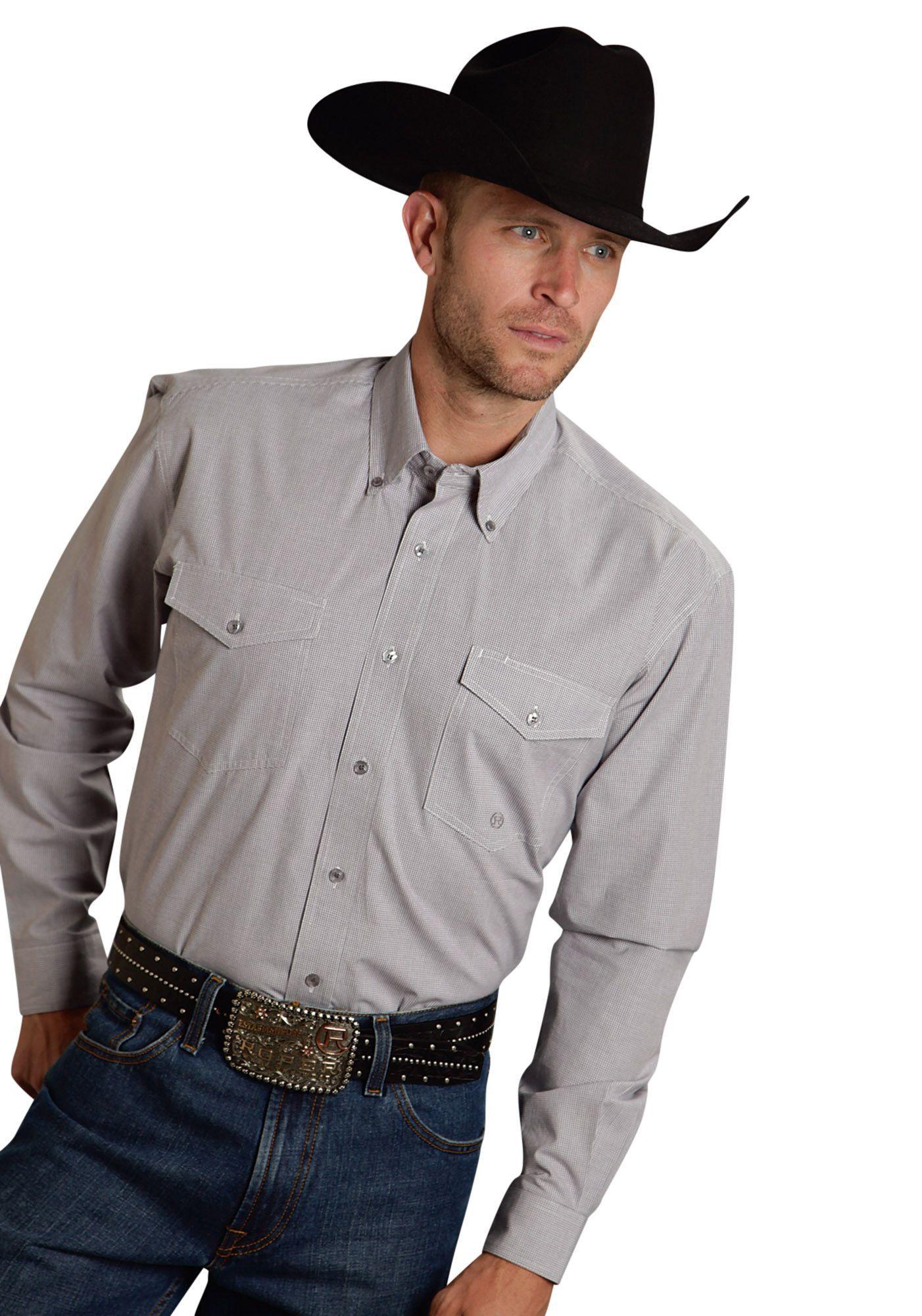 Roper Mens 9791 Mini Checks - Grey Amarillo Red Rock Long Sleeve Shirt Button Closure - 2 Pocket