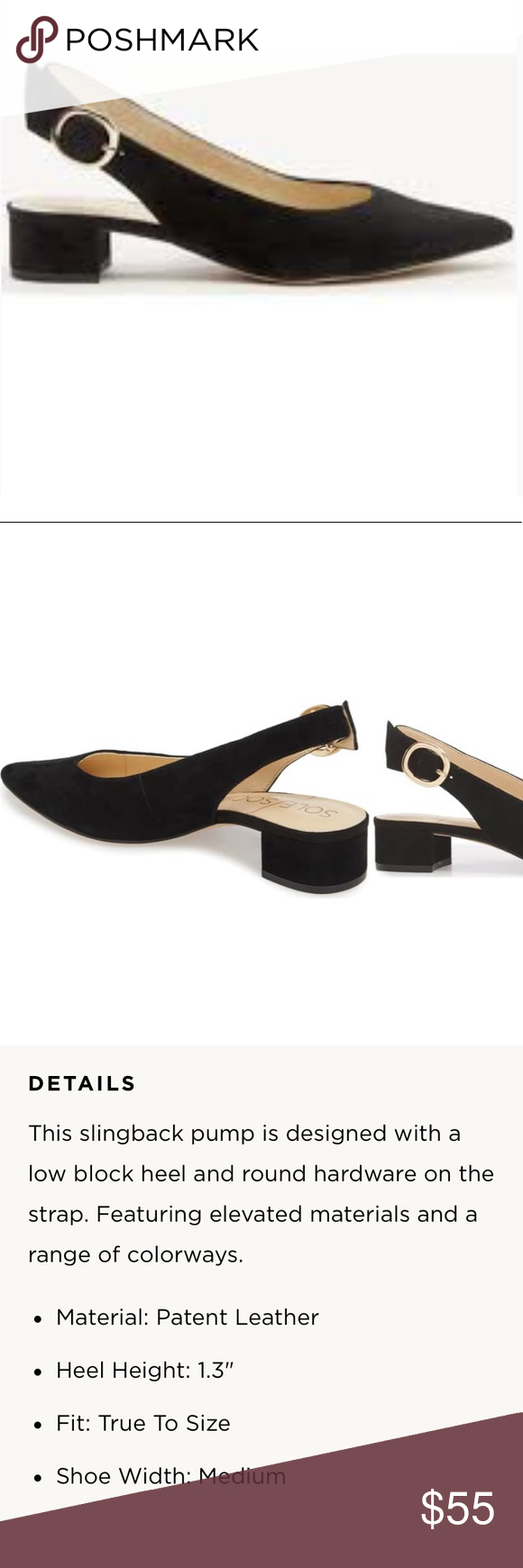 0c7bdbe80fc Sole Society Mariol sued flat EUC Beautiful black suede slingback heel with  a gold tone button. The shoes have only been worn a handful of times and  show no ...